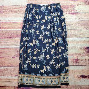 Rafaella Long A-Line Skirt Size 12 Blue Floral